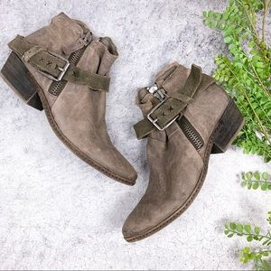 Dolce Vita Nevada Buckle Suede Tan Booties